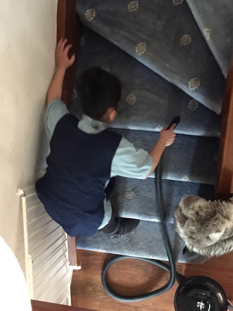 cleaning stairs, domestic house cleaning